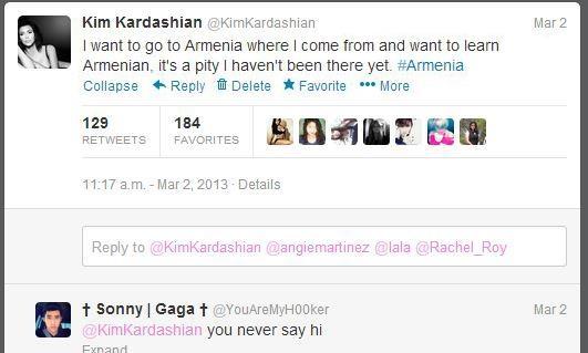 Քիմ Քարդաշյանը Twitter-ում կրկին գրել է, որ ուզում է գալ Հայաստան ու սովորել հայերեն