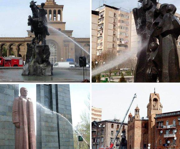 Համաքաղաքային շաբաթօրյակի ընթացքում արձանները լվացվում և մաքրվում են