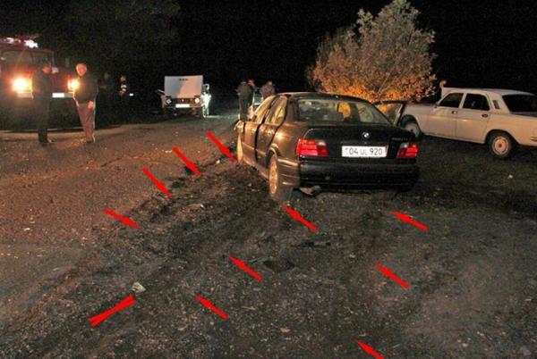 Այս լուսանկարում երևում է, որ Վարդան Պետրոսյանի ավտոմեքենան շարժվել է կողասահքով
