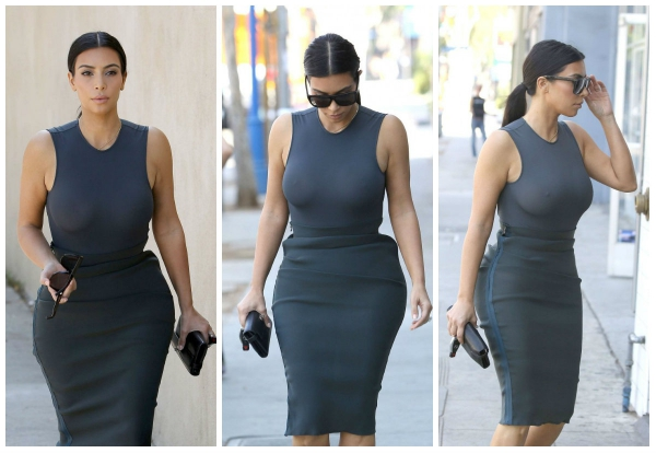 Kim Kardashian bares her cleavage as she wears matching outfit
