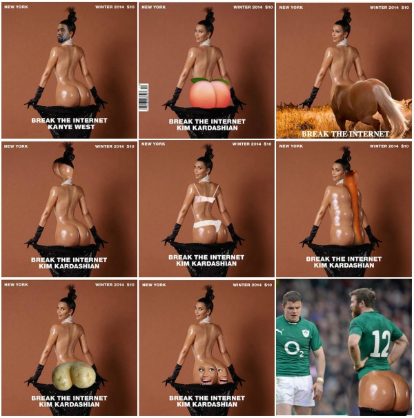 The Internet parodies Kim Kardashian's outrageous bare-bottomed magazine cover with hilarious memes